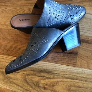 frye & co distressed leather studded mules